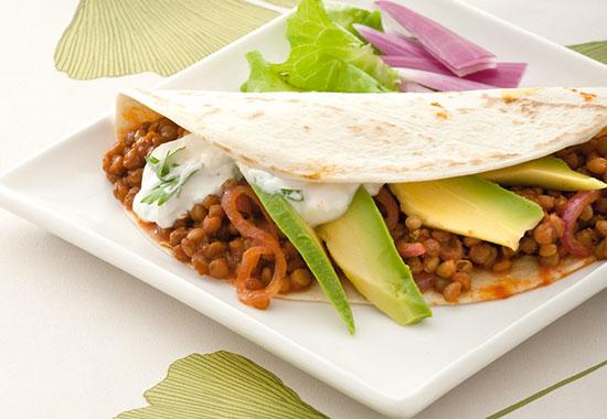 Tortillas vegetariana con lenticchie